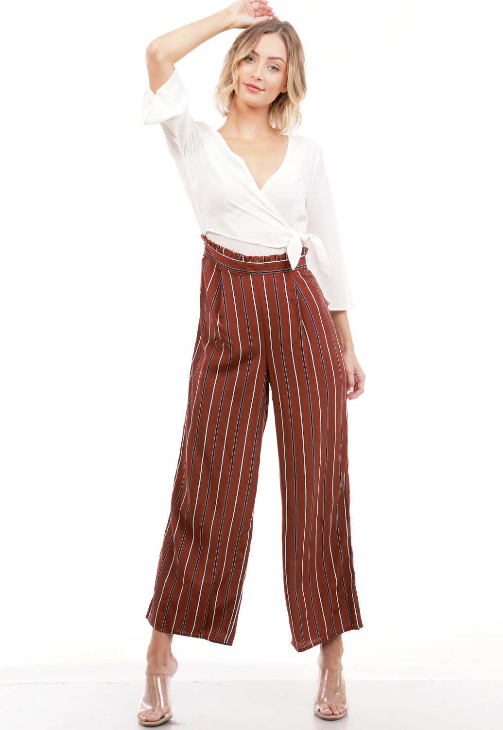 Pinstriped Surplice Jumpsuit