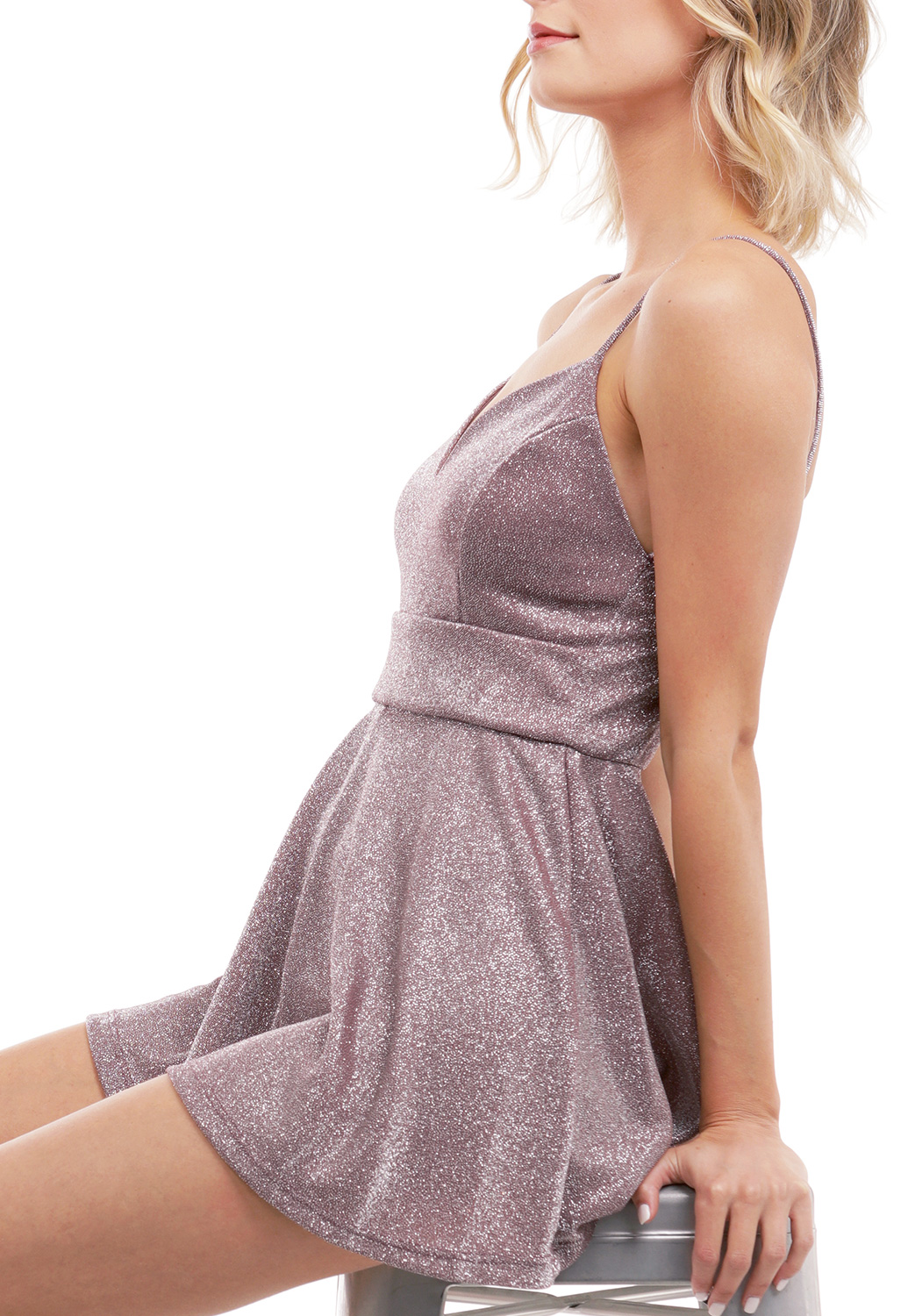 Metallic V Neck Romper