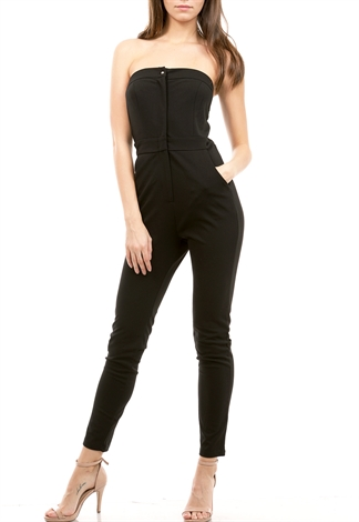 Button Zip Up Detail Jumpsuit