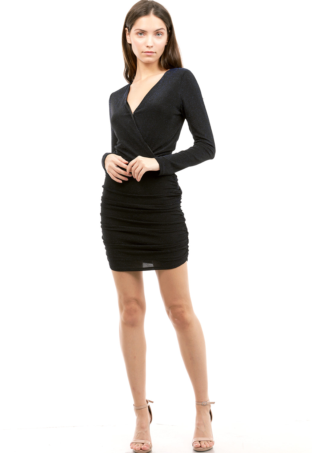Metallic Surplice Mini Dress