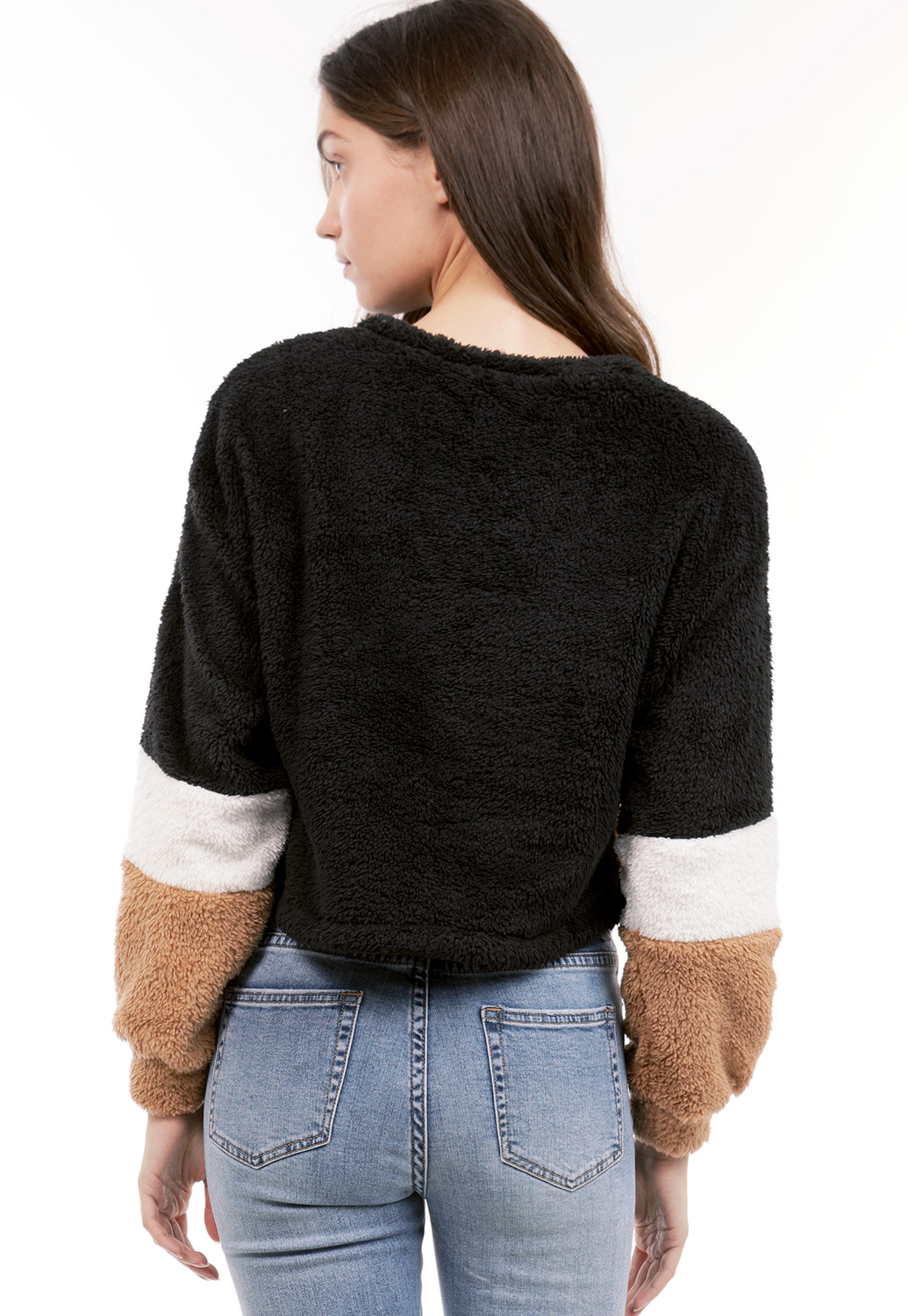 Faux Fur Colorblock Sweater