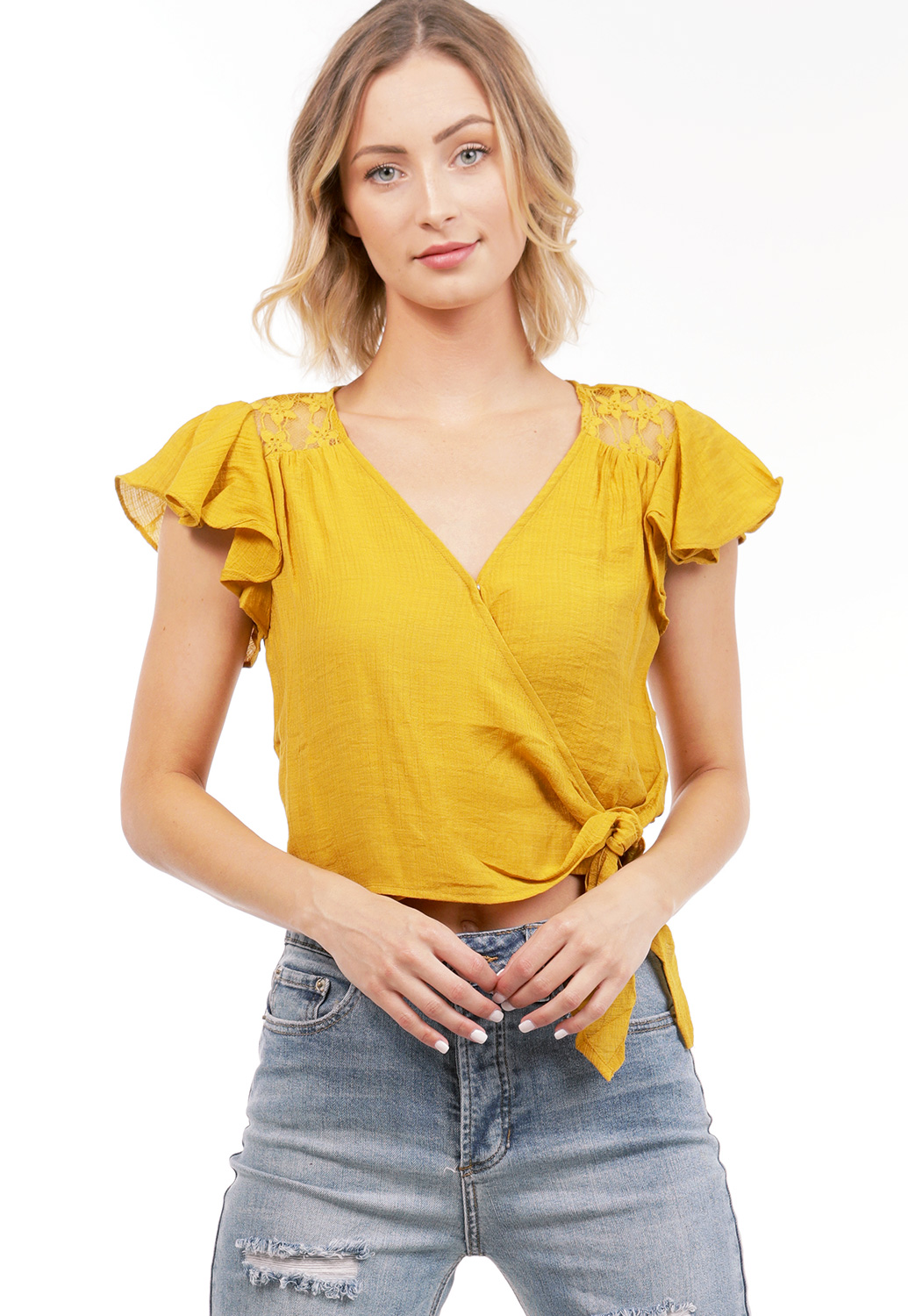 Lace Trim Tie Front Top