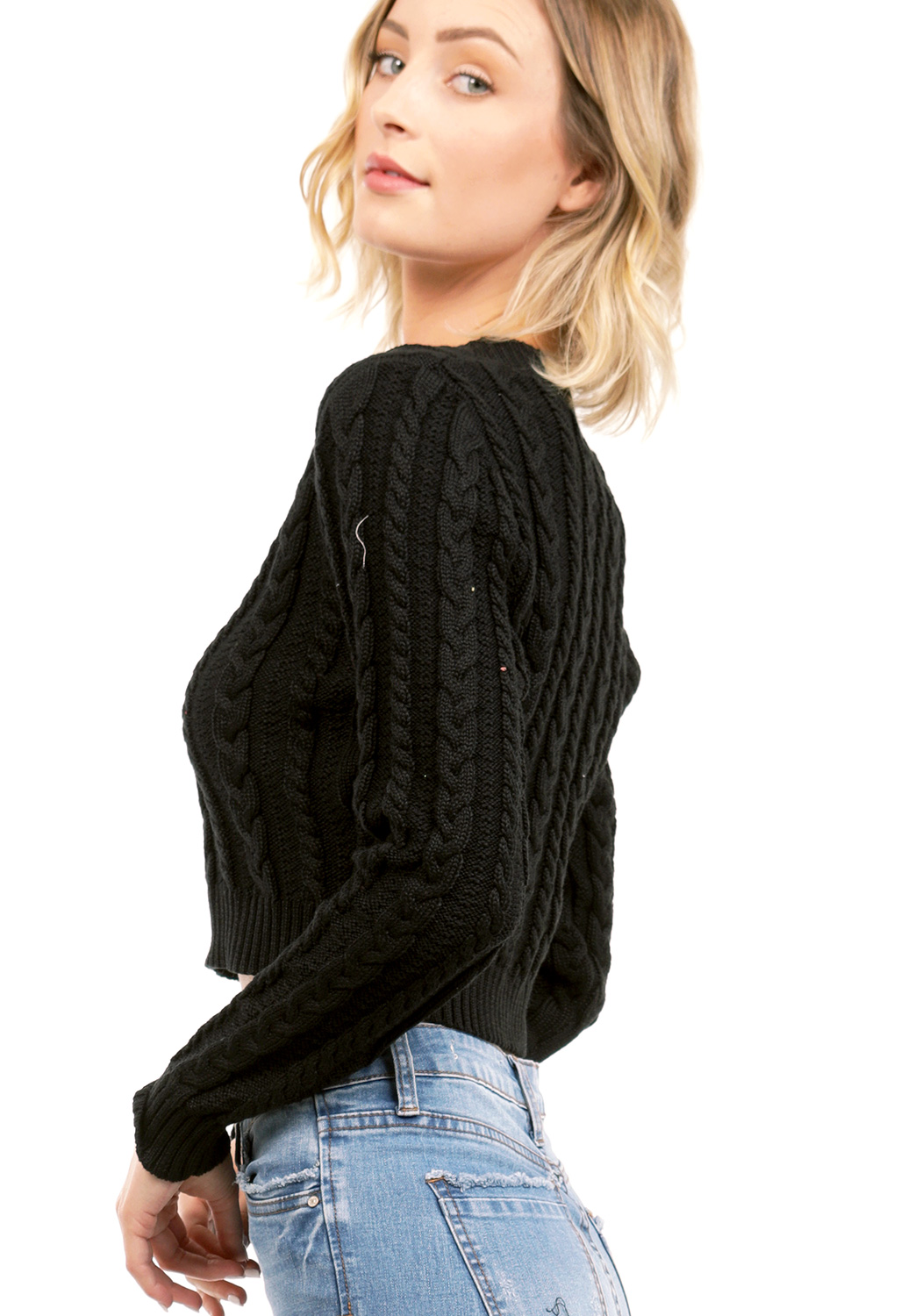Knit V-Neck Crop Sweater