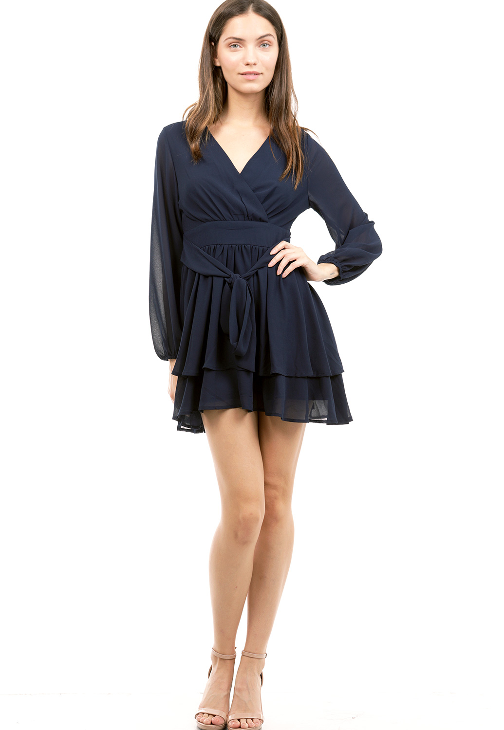 Tie Front Fit And Flare Mini Dress