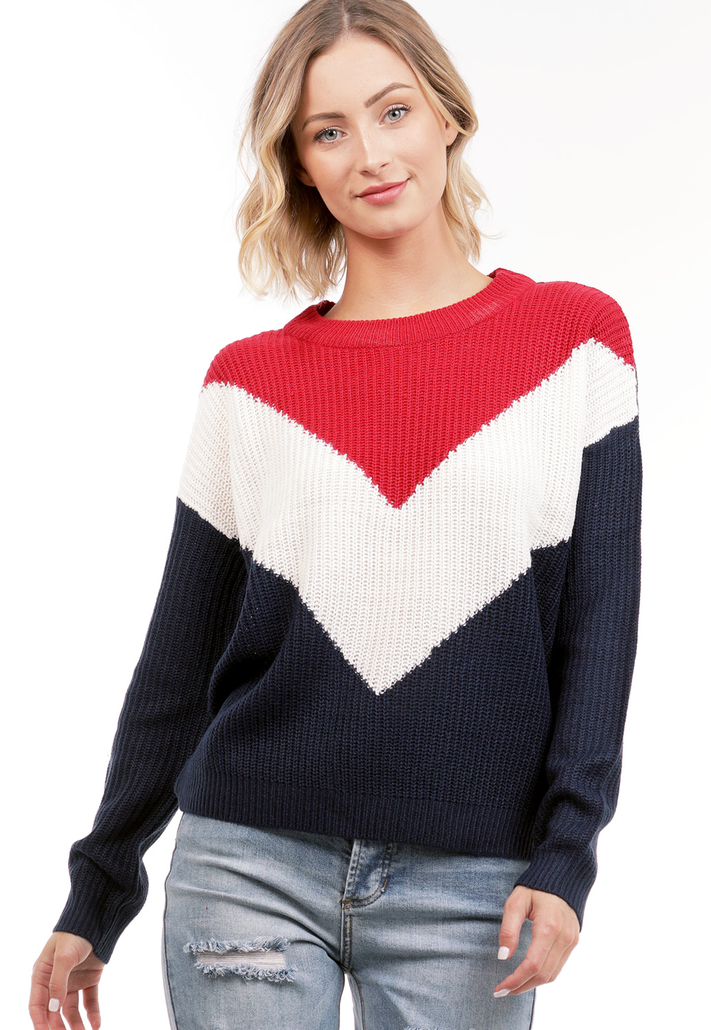 Chevron Pattern Knit Sweater