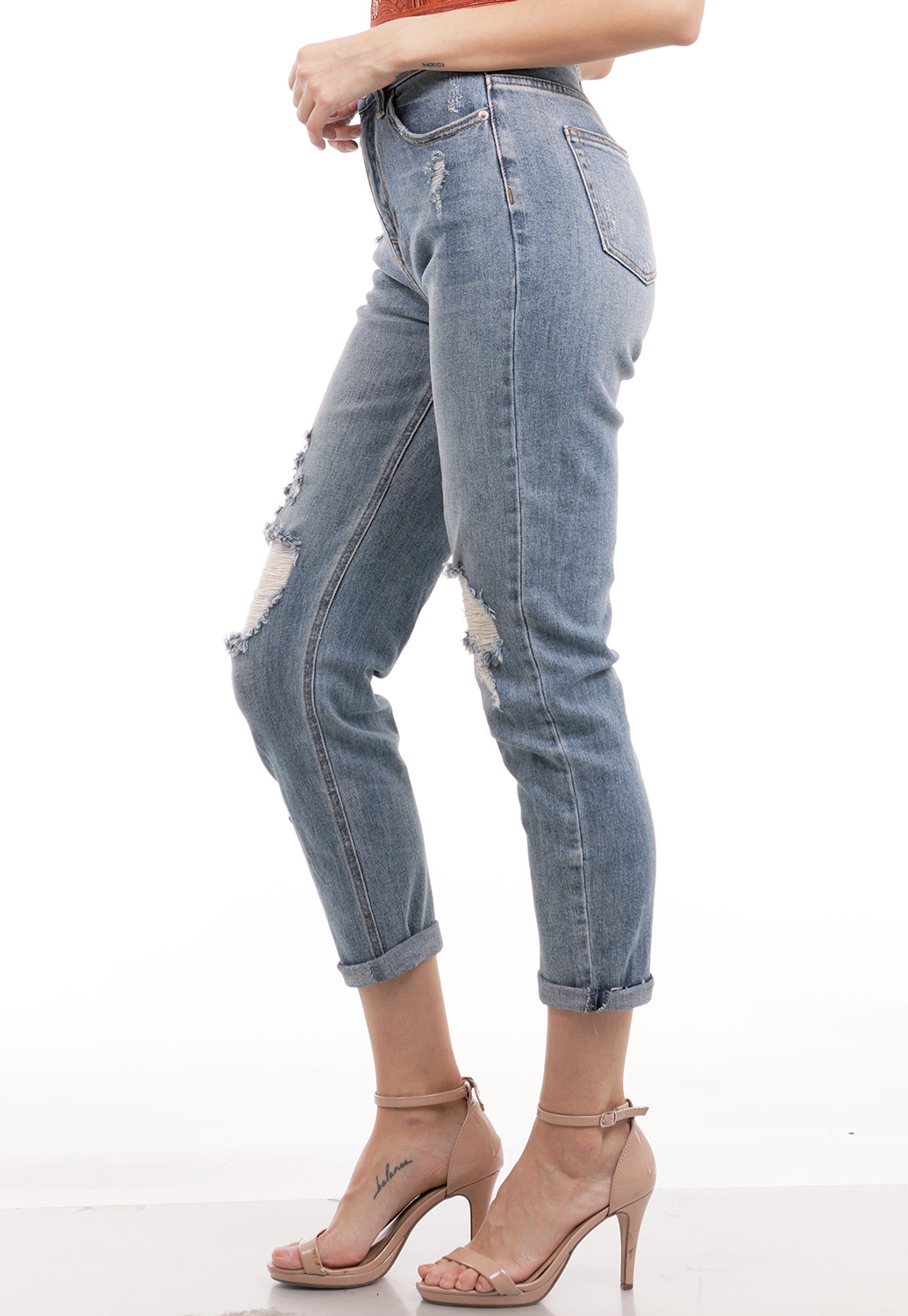 Distressed High Rise Boyfriend Jeans