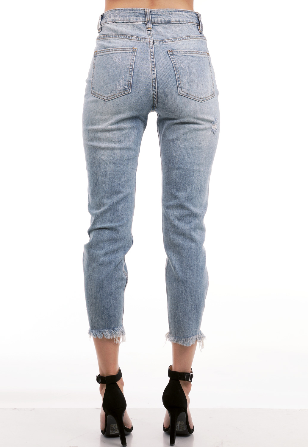 Distressed Denim High Rise Jeans