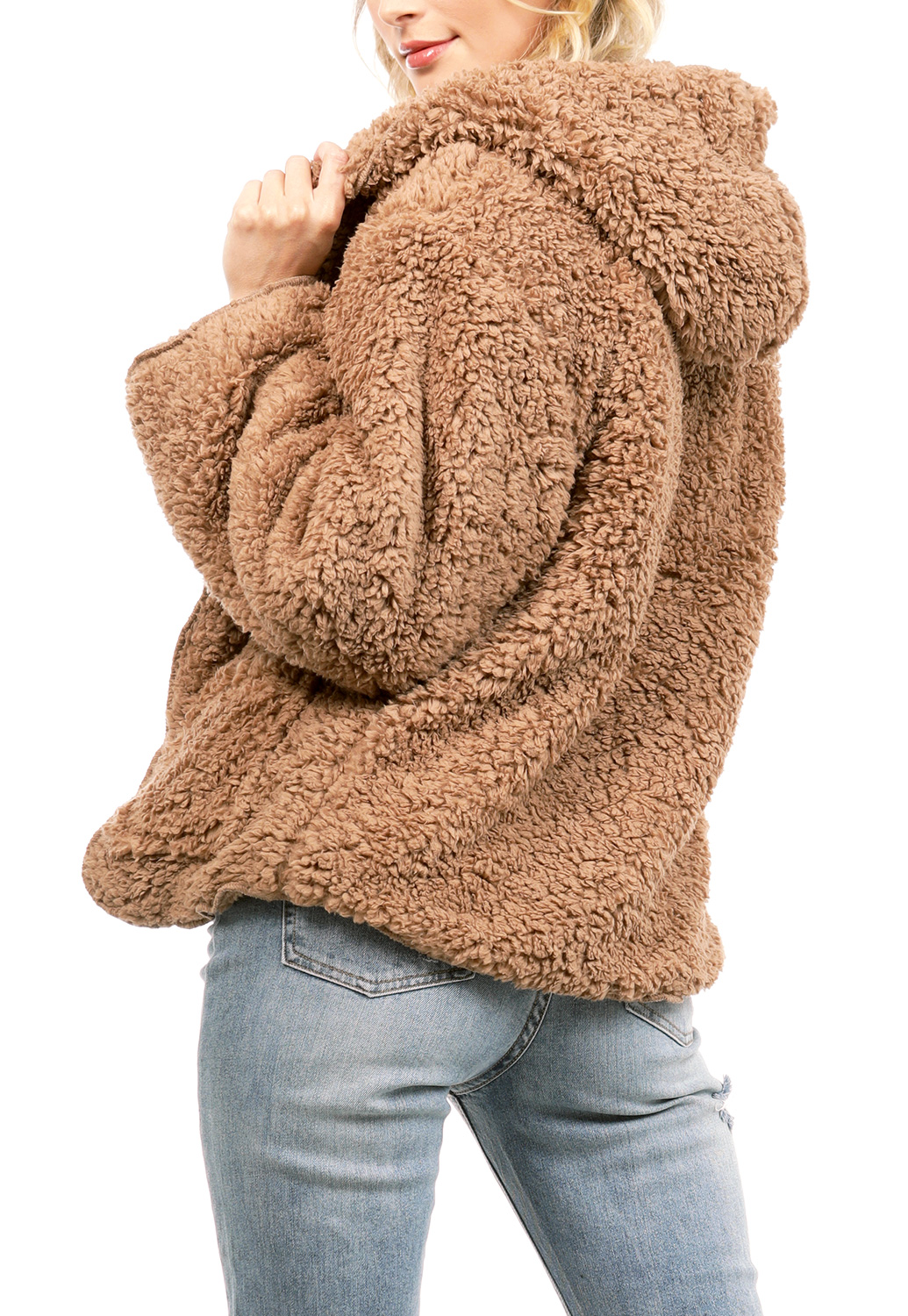 Faux Fur Open Front Sweater