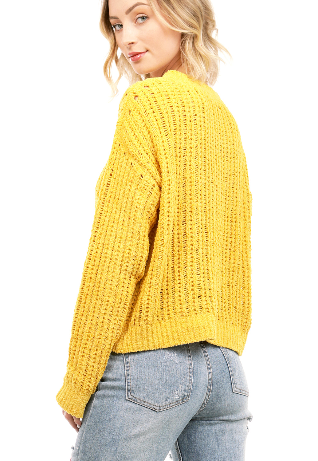 Knit V-Neck Chenille Sweater