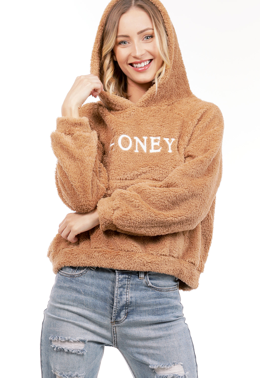 Honey Graphic Faux Fur Sweater
