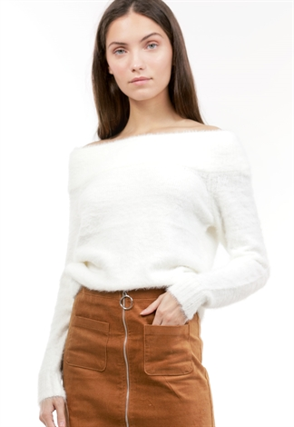 Off The Shoulder Fuzzy Top