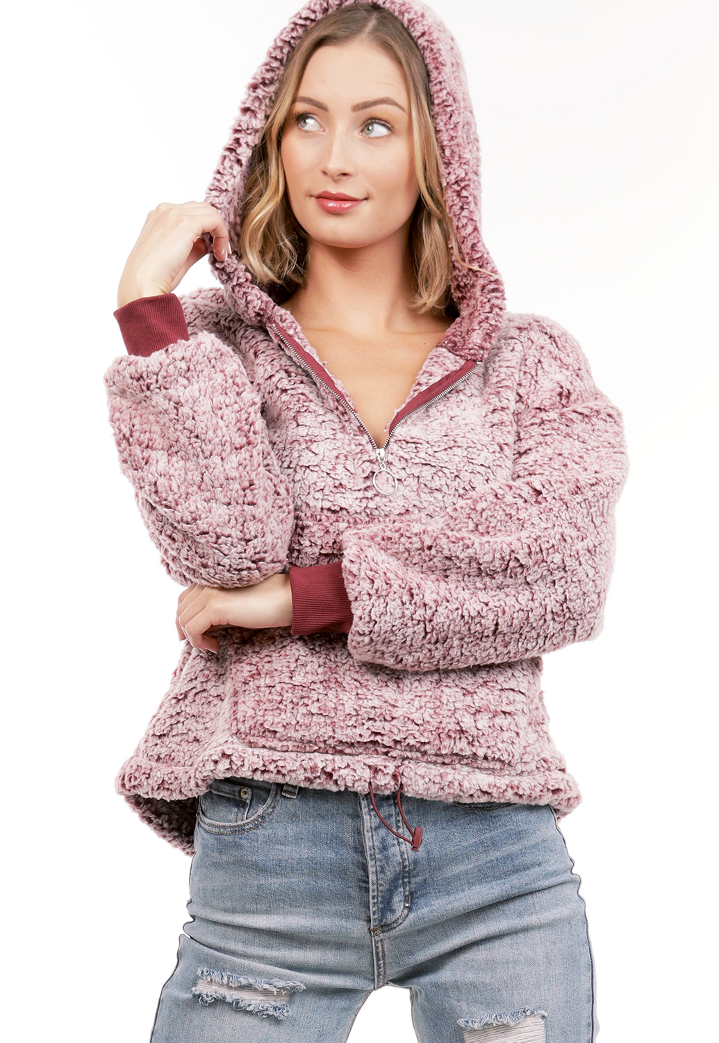 Faux Shearling Pullover Hoodie