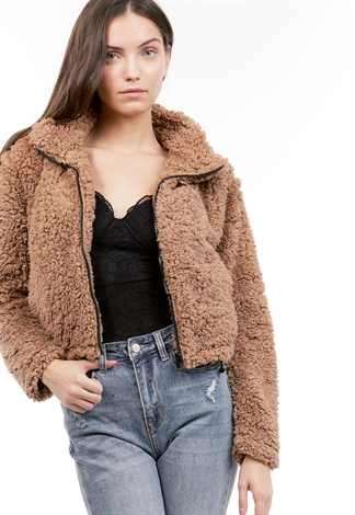Faux Fur Zip Up Sweater