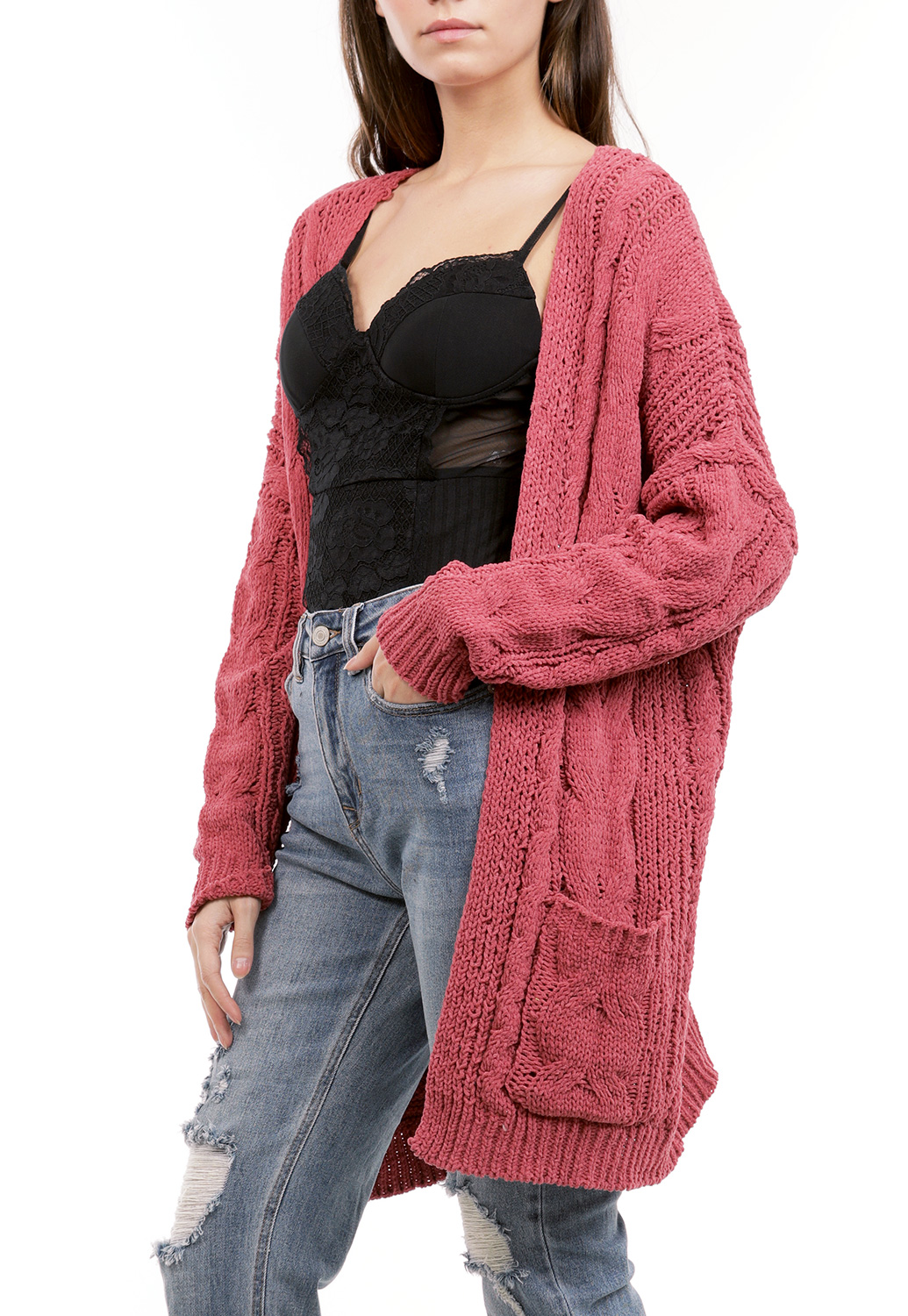 Crochet Knit Open Cardigan