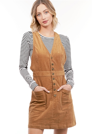 Corduroy Button Up Overall Dress