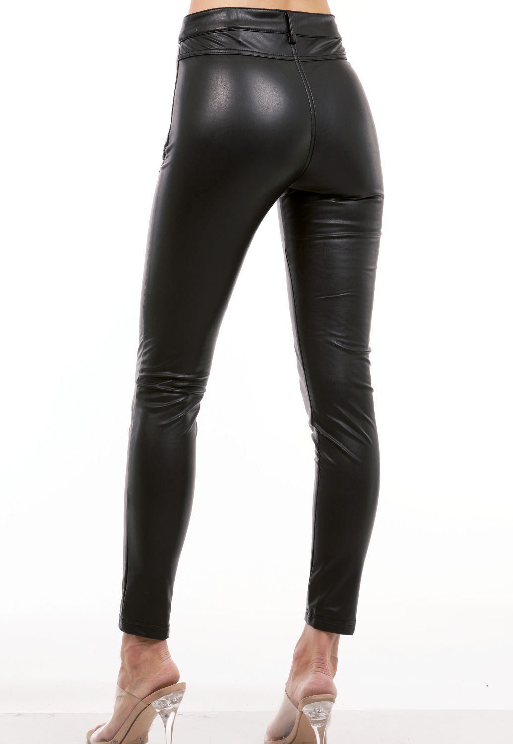 Faux Leather Zipper Detail Pants