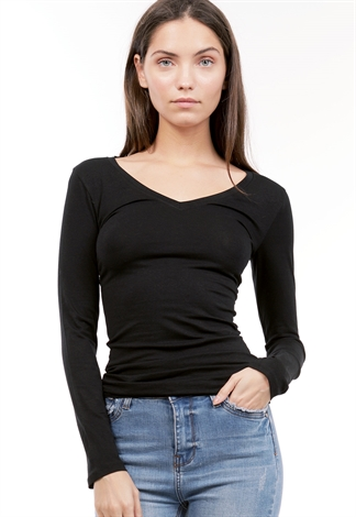 V Neck Long Sleeve Basic Top