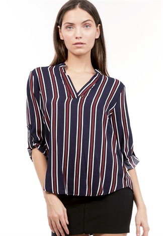 V Neck Pinstriped Dressy Top