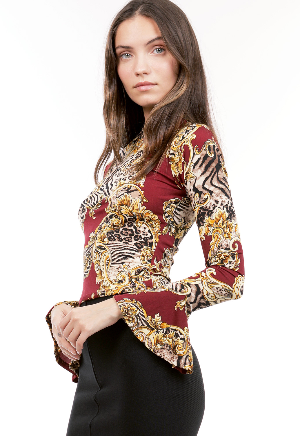 Pornate Print Long Sleeve Top