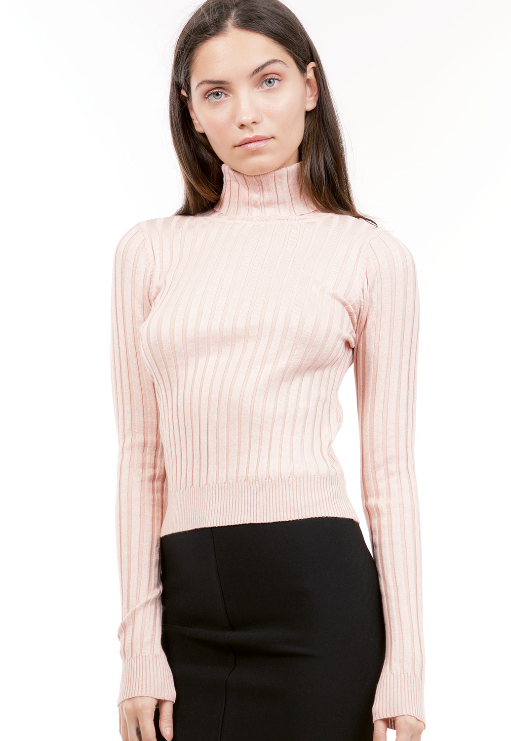 Turtleneck Ribbed Top