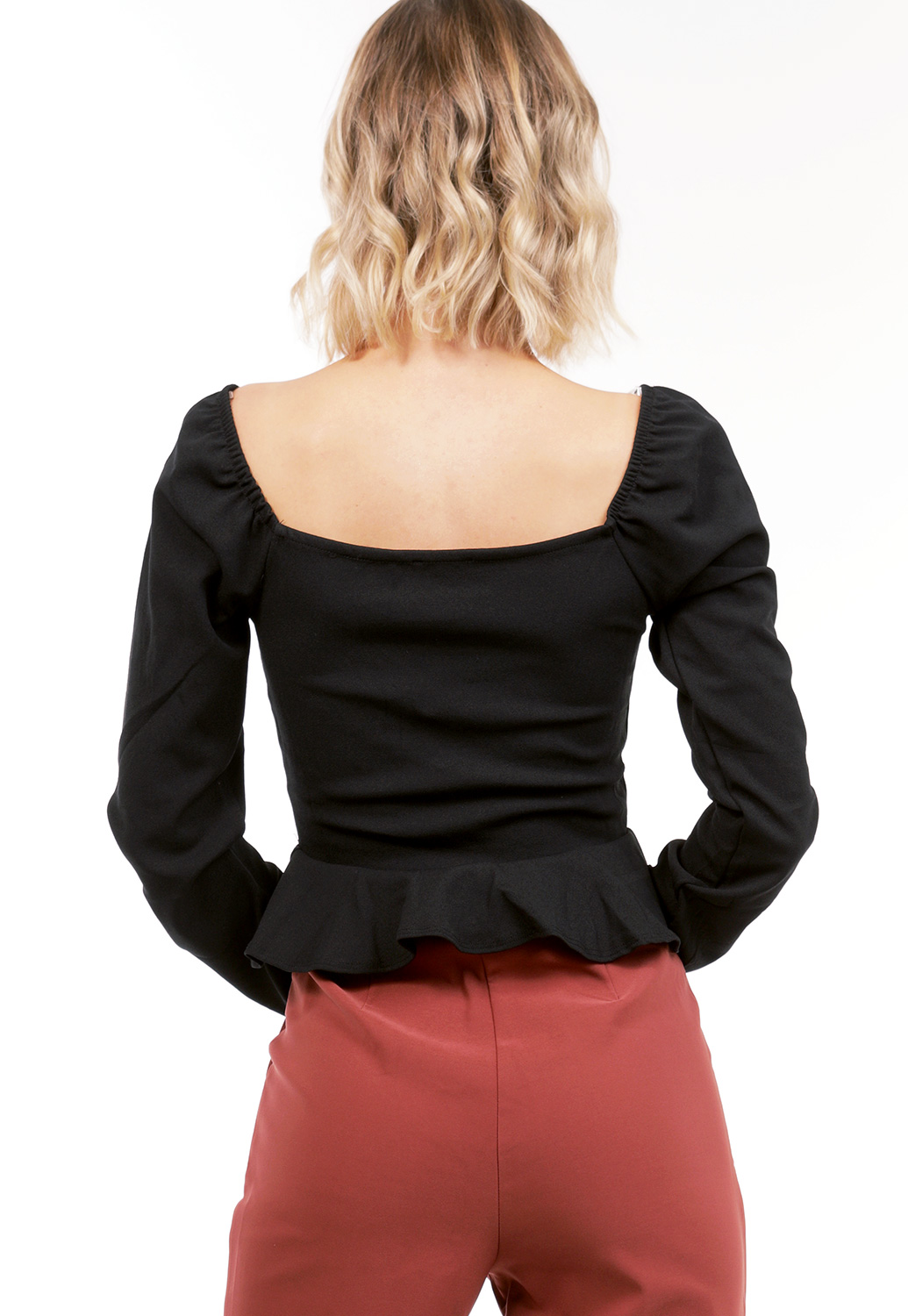 Flare Hem Button Detail Top