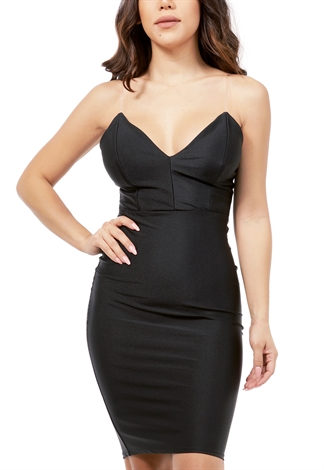 Satin Plastic Strap Bodycon Dress
