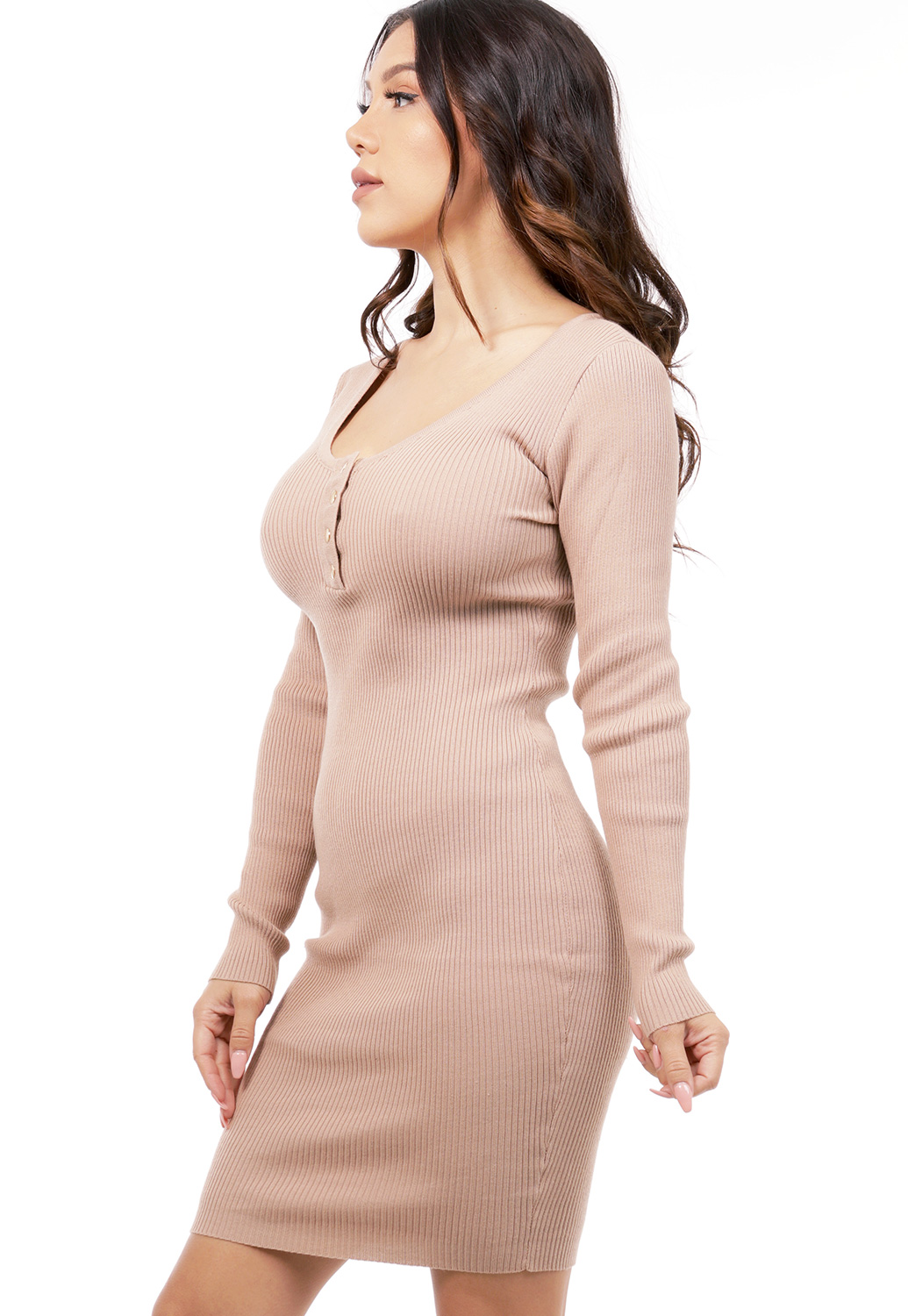 Ribbed Button Detail Bodycon Dress