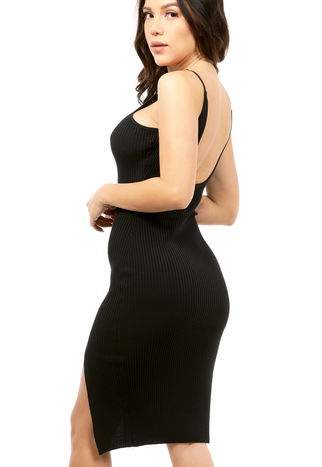 Open-Back Knit Bodycon Dress
