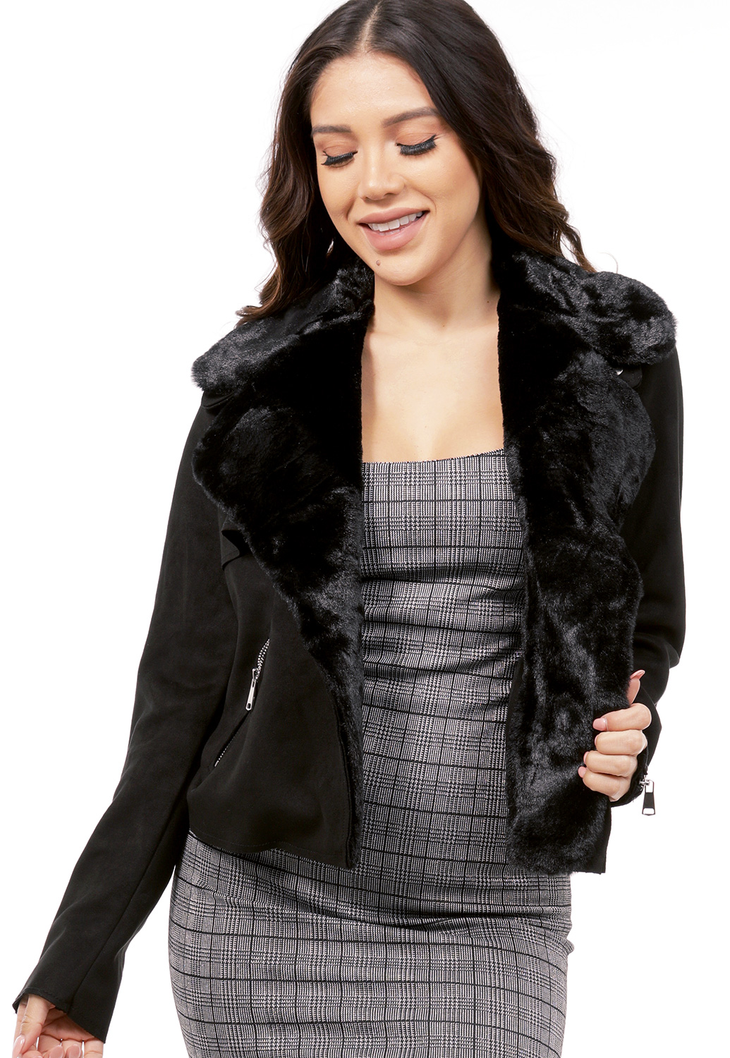 Faux Fur Trim Suede Jacket