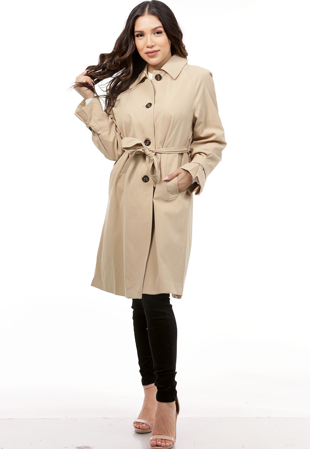 Button Up Tie Front Coat