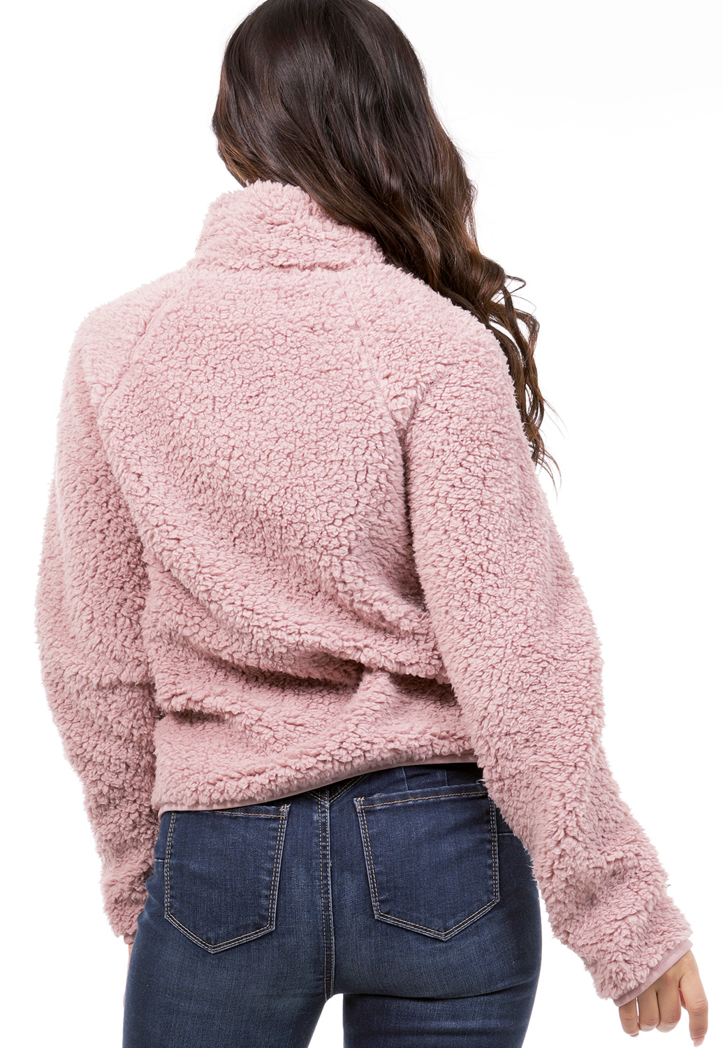 Faux Shearling Zip Up Sweater