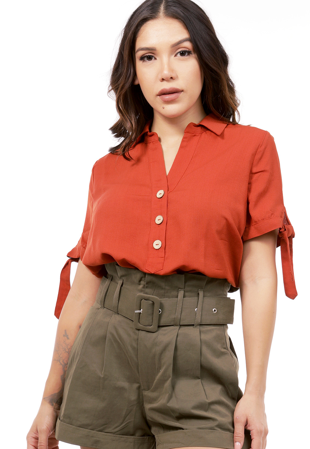 V-Neck Button Detail Top
