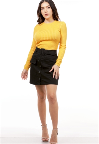 Belted Detail Tie Front Mini Skirt