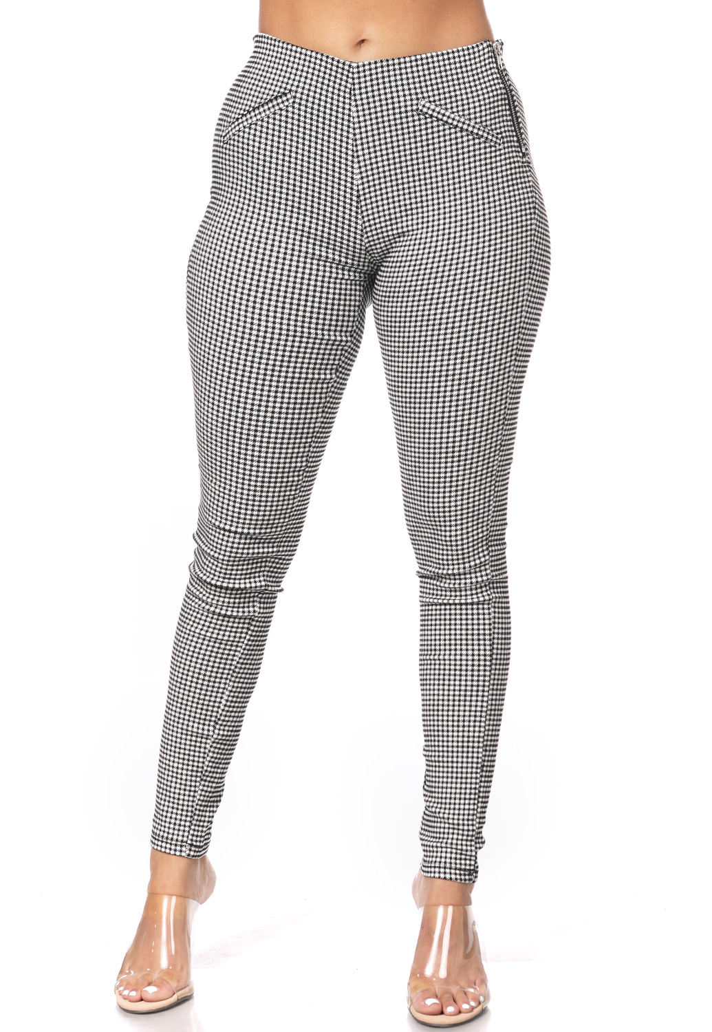Houndstooth Zipper Detail Pants