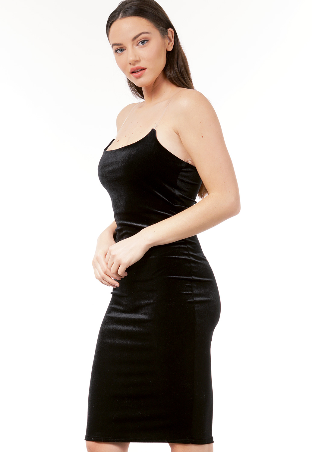 Velvet Plastic Straps Bodycon Dress