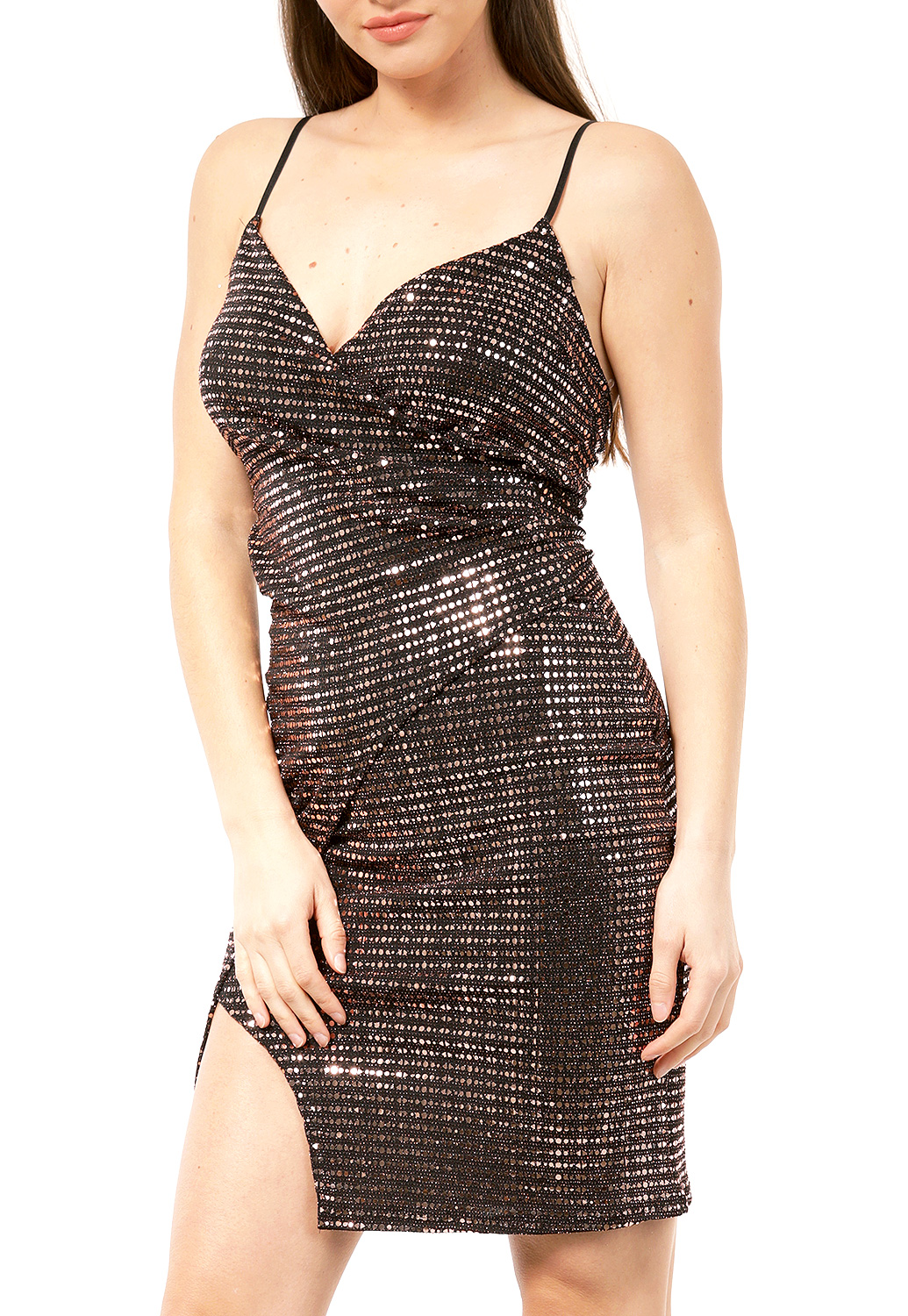 Surplice Sequin Embellished Mini Dress