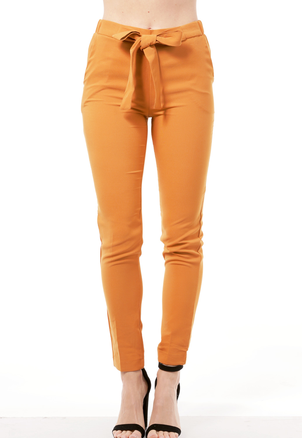 Tie Front Elastic Waistband Pants