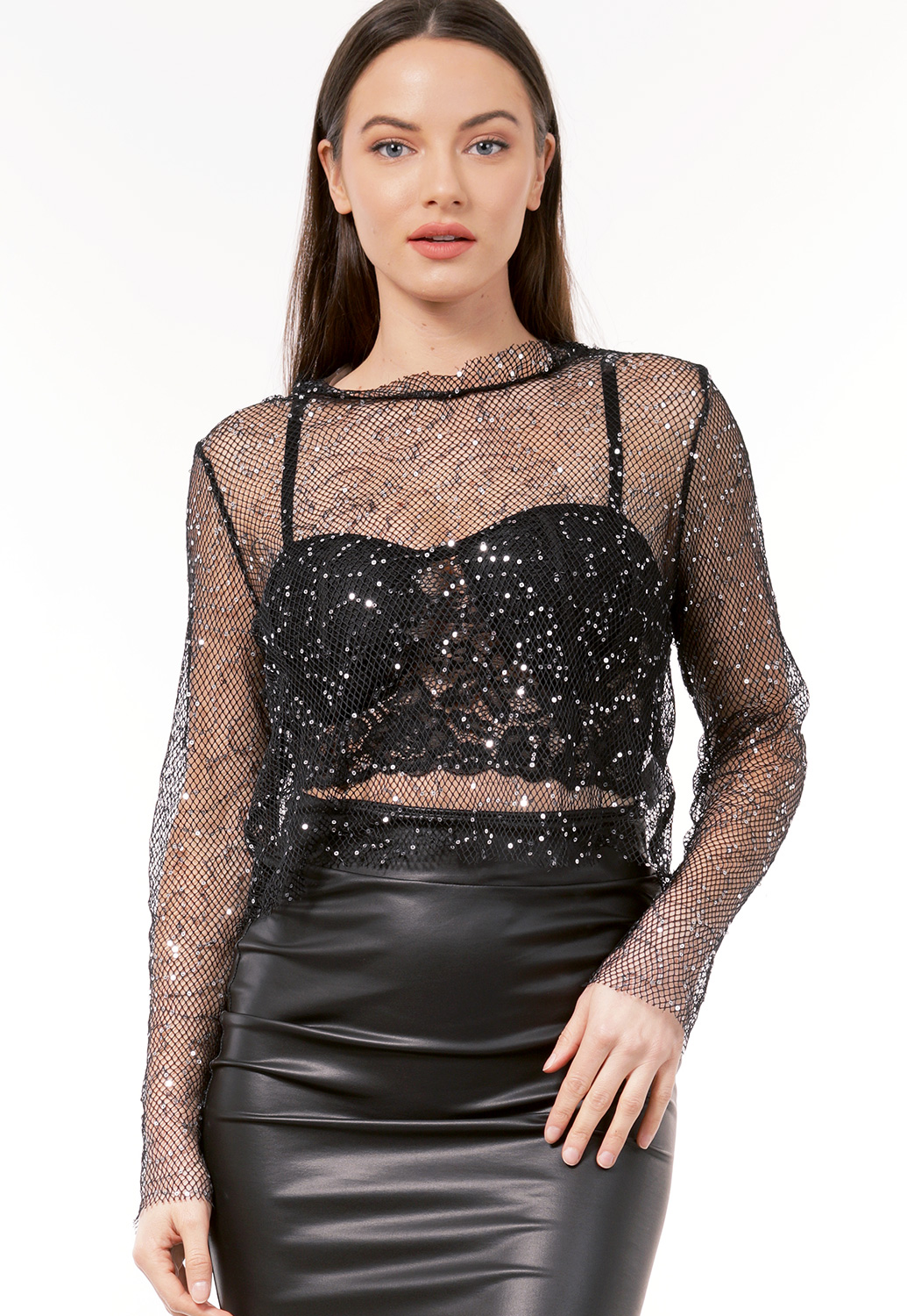 Netted Sequin Embellished Top