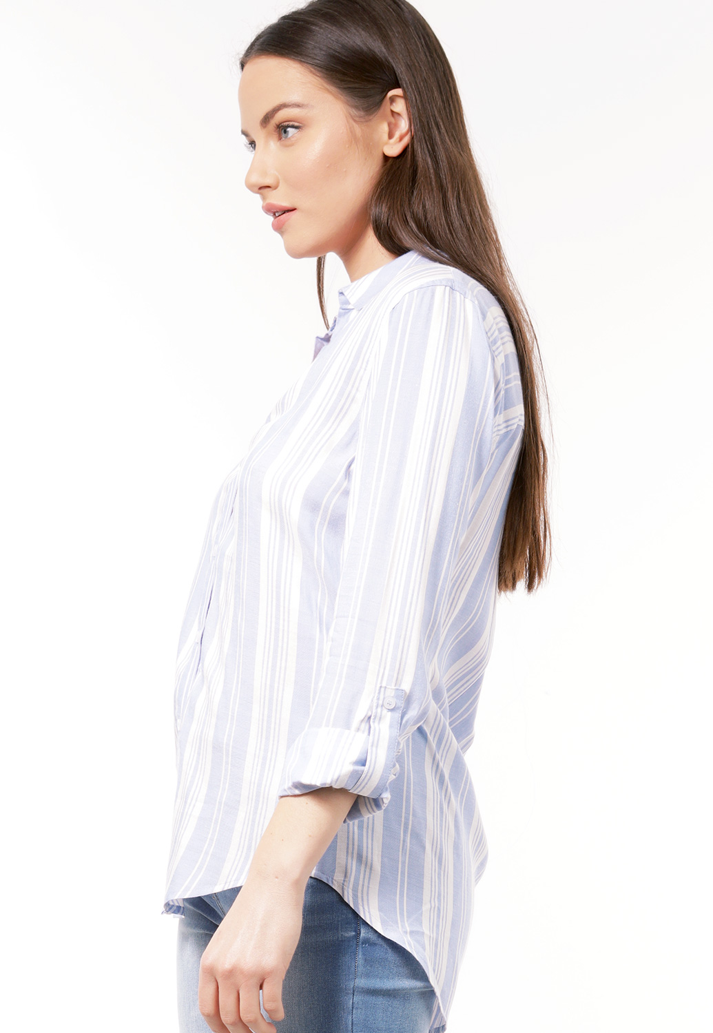 Contemporary Striped Button-Down Blouse