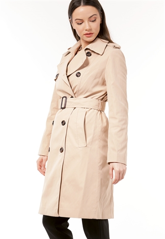 Button Detail Belted Coat