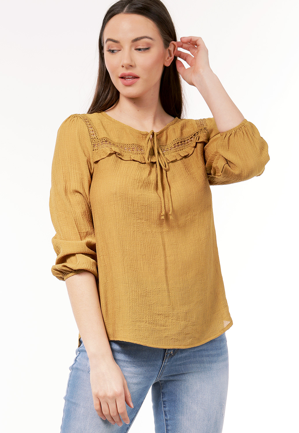 Crochet Trim Casual Top