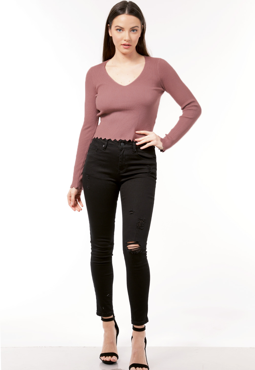 V Neck Scallop Hem Top