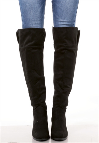 Faux Suede Heel Boots