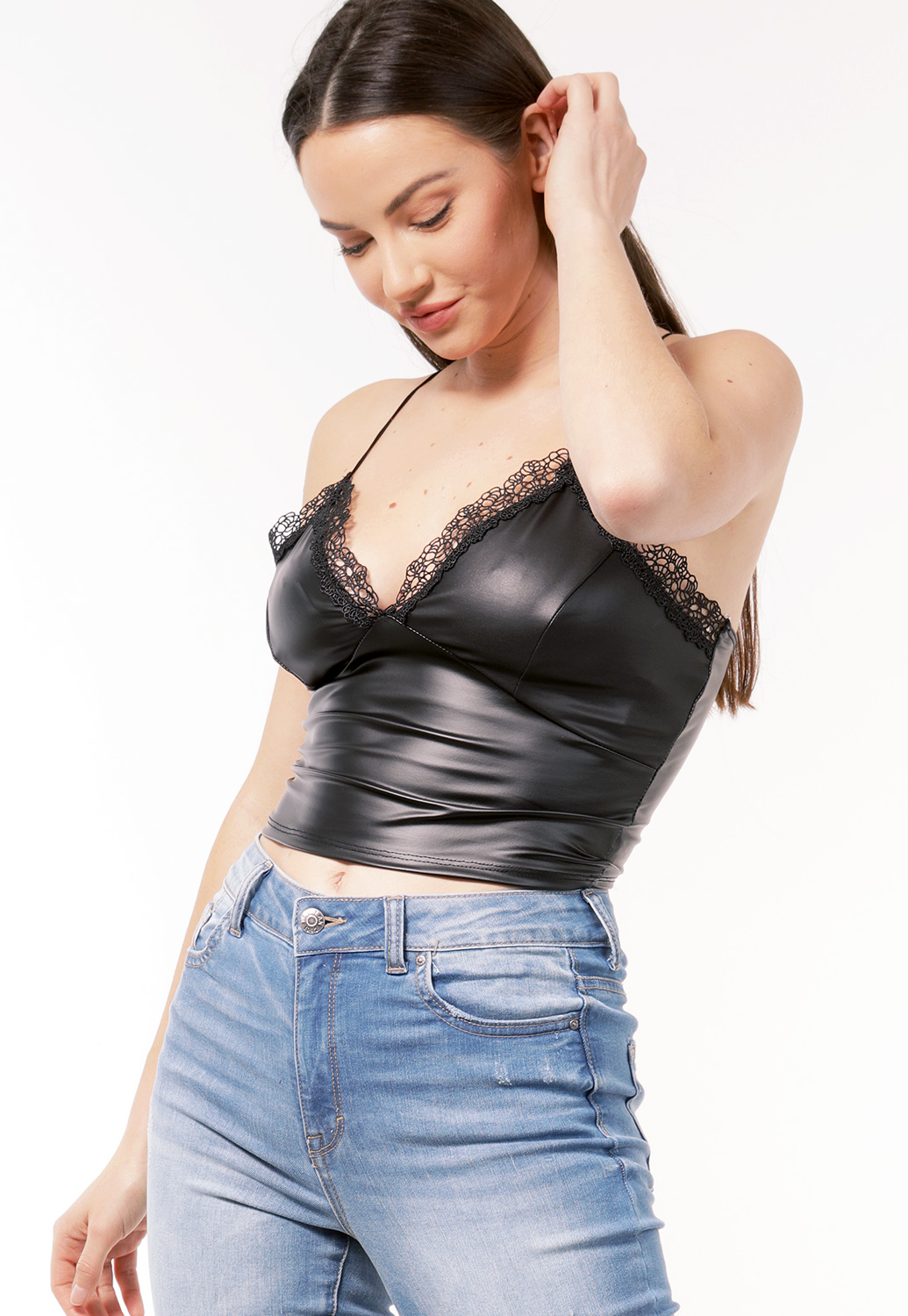 Faux Leather Crochet Trim Top