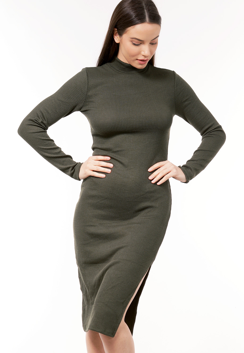 Ribbed Turtle Neck Dress