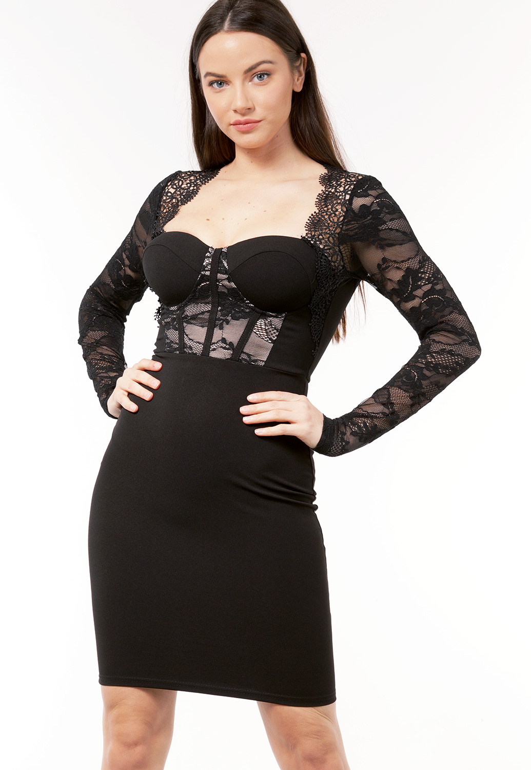 Lace Trim Long Sleeve Dress