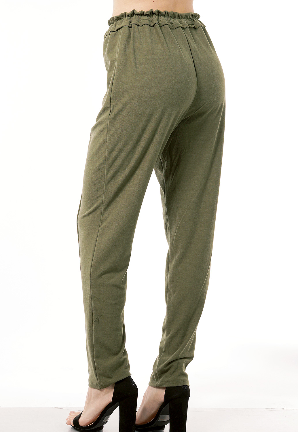 Tie Front Elastic Waistband Casual Pants