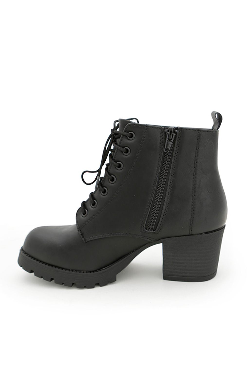 Heeled Lace-Up Combat Boots