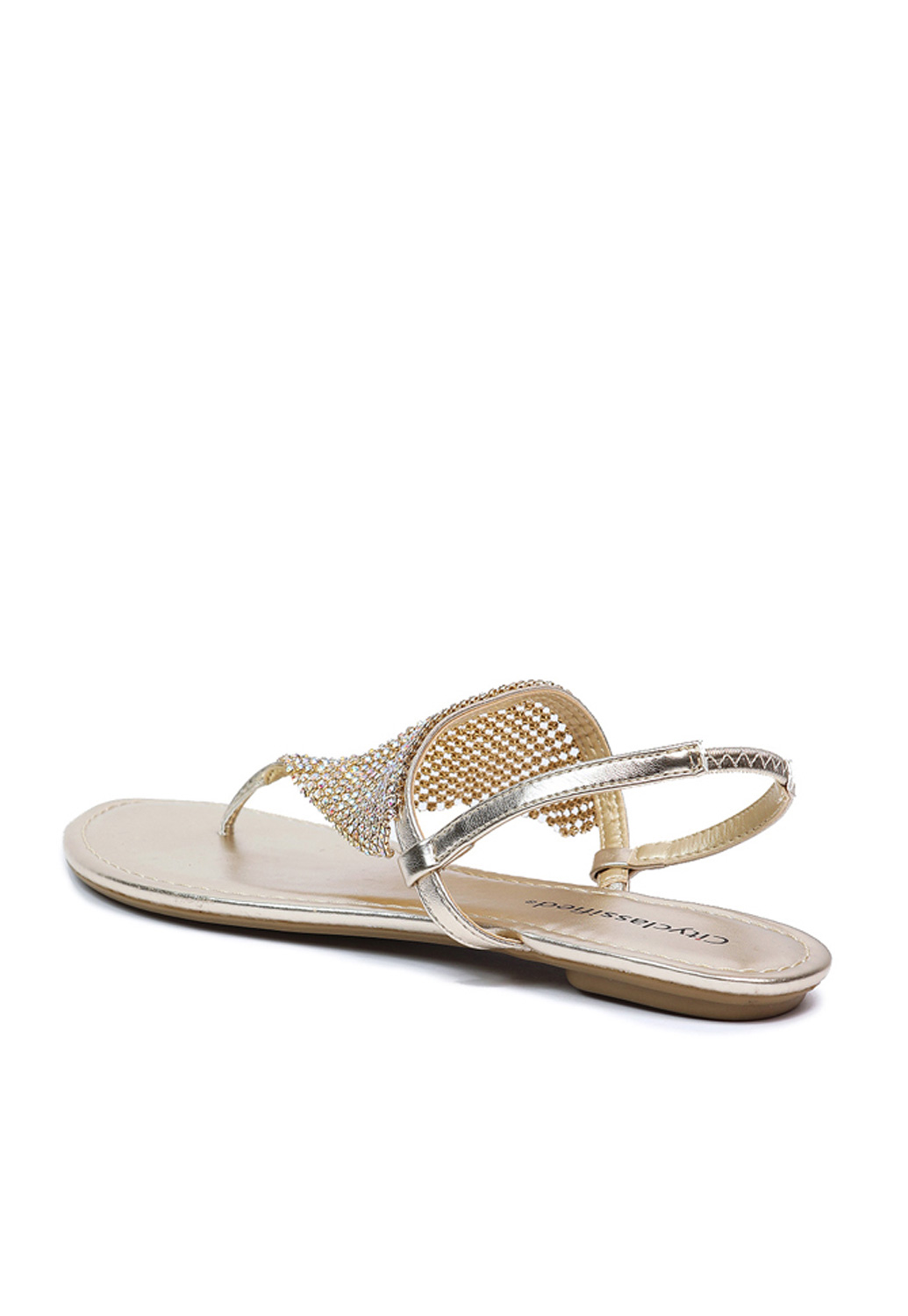 Rhinestone Metallic Thong Sandals