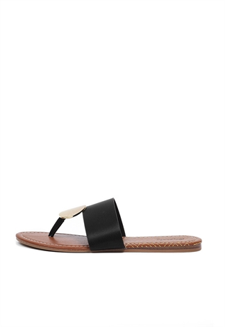 Faux Leather Thong Sandals